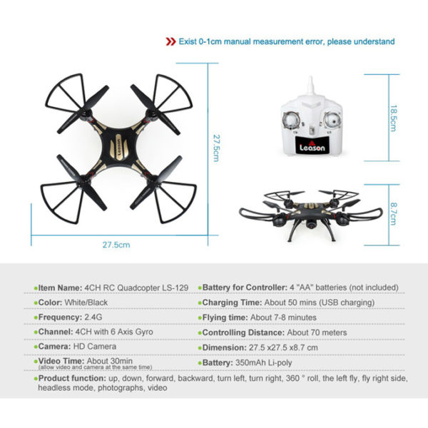 LS-129 - 4 CH - 6 Axis Gyro Quadcopter Drone