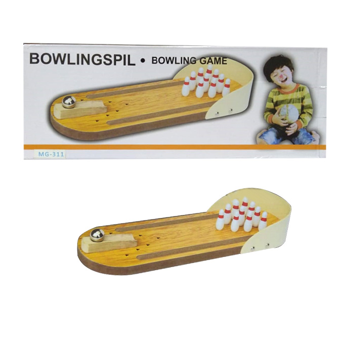 Miniature Finger Wooden Bowling Pins And Ball Toy Set