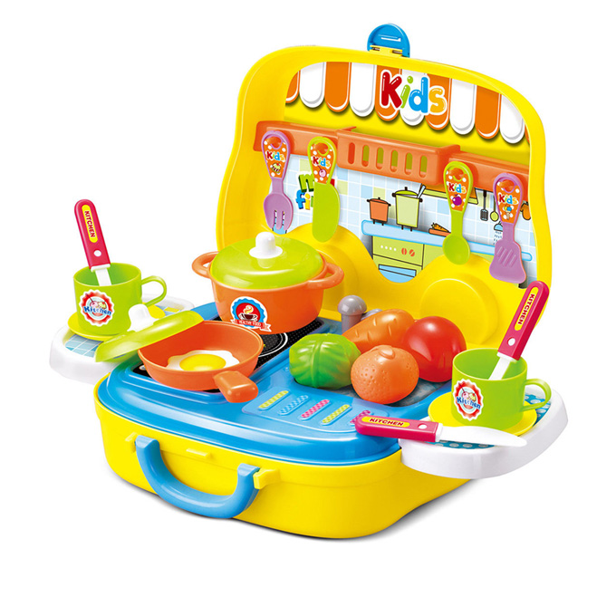 Cooking Chef Kitchen Pretend Play Set Briefcase Yellow Planet